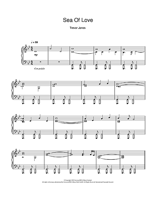 Partition piano Sea Of Love (Fear And Passion) de Trevor Jones - Piano Solo