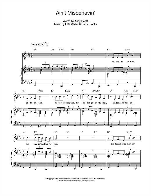 Ain't Misbehavin' sheet music by Fats Waller (Piano, Vocal ...