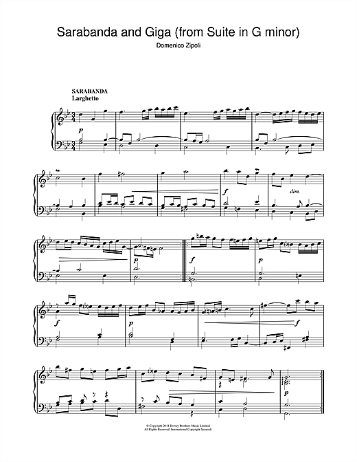 Sarabanda And Giga (From The Suite In G Minor) Sheet Music