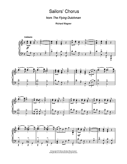 Partition piano Sailors' Chorus (from The Flying Dutchman) de Richard Wagner - Piano Solo