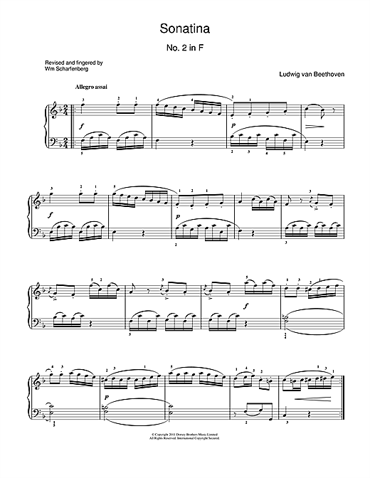 Sonatina No.2 In F Major Sheet Music