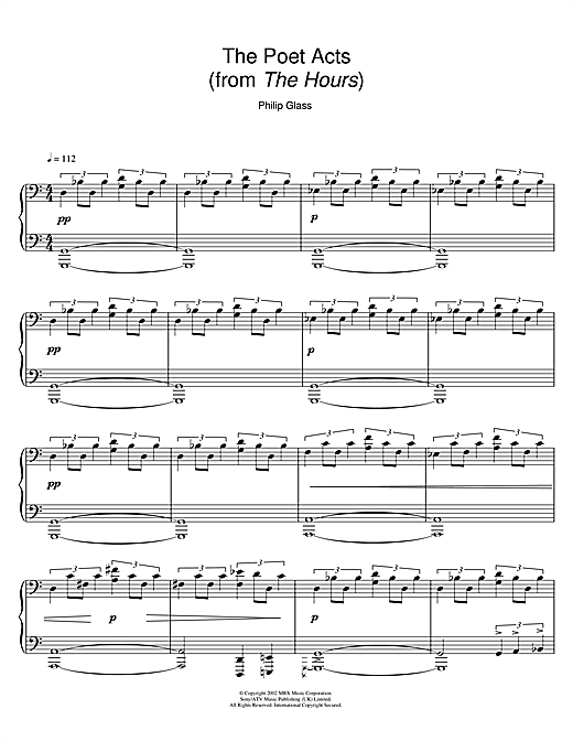 The Poet Acts (from The Hours) Sheet Music