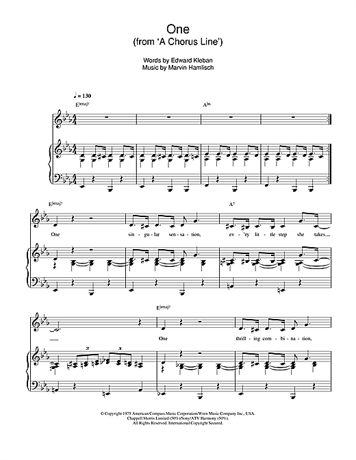 One (from 'A Chorus Line') Sheet Music