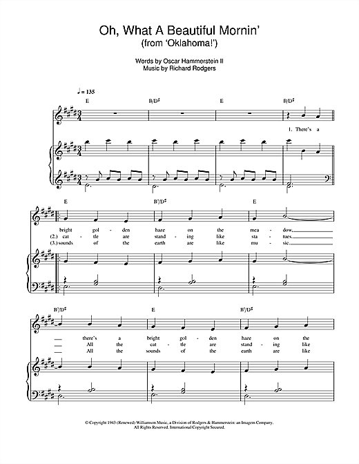 Oh, What A Beautiful Mornin' (from 'Oklahoma!') Sheet Music