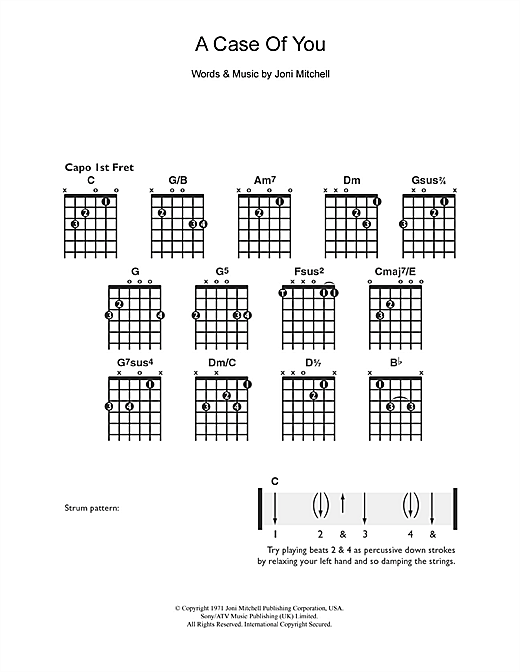 Tablature guitare A Case Of You de Joni Mitchell - Guitare