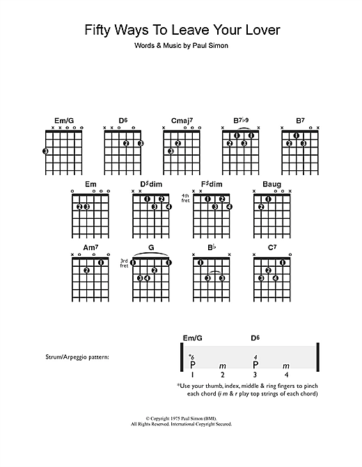 Tablature guitare Fifty Ways To Leave Your Lover de Paul Simon - Guitare
