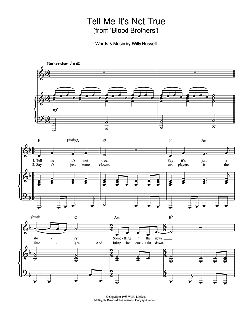 Tell Me It's Not True (from Blood Brothers) Sheet Music