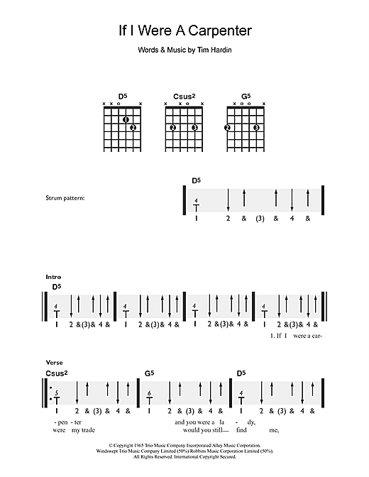 Tablature guitare If I Were A Carpenter de Tim Hardin - Guitare