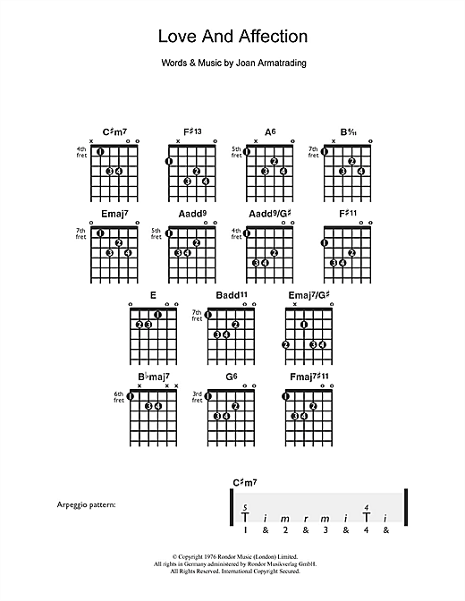 Tablature guitare Love And Affection de Joan Armatrading - Guitare