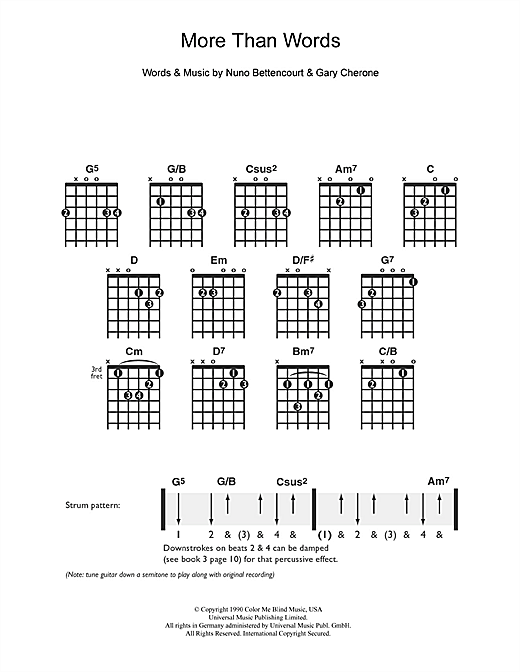 Tablature guitare More Than Words de Extreme - Guitare