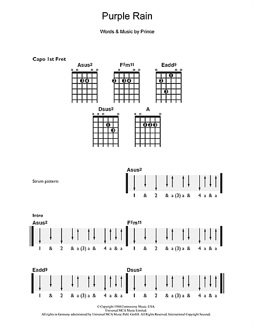 Tablature guitare Purple Rain de Prince - Guitare