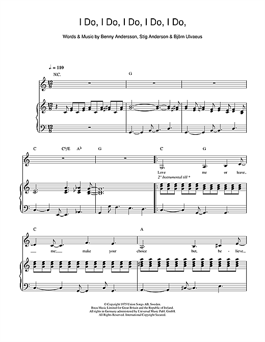 I Do, I Do, I Do, I Do, I Do Sheet Music