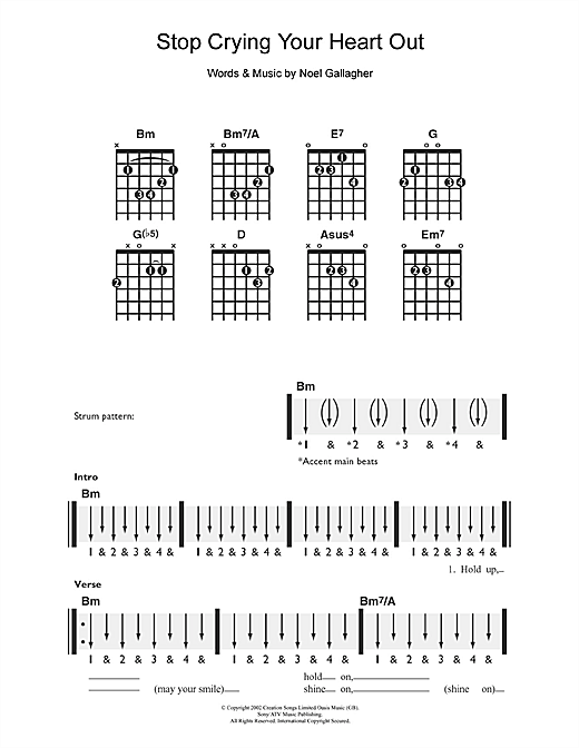 Tablature guitare Stop Crying Your Heart Out de Oasis - Guitare
