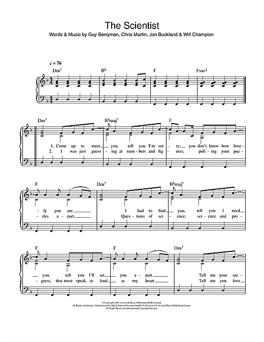 Piano tablature piano facile gratuite : The Scientist partition par Coldplay (Piano Facile – 111370)