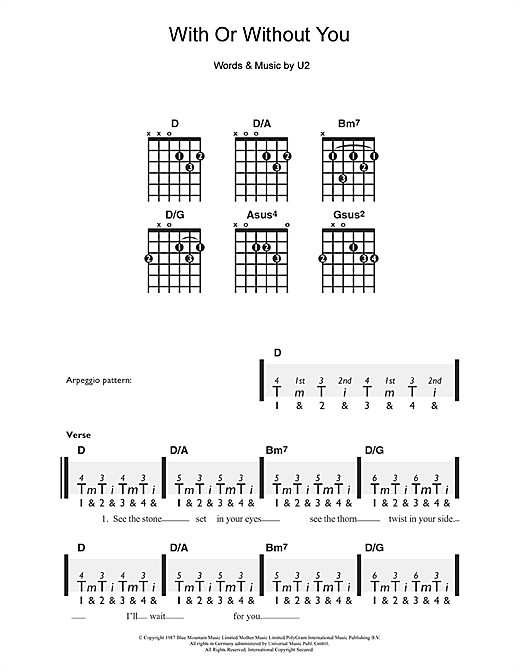 Tablature guitare With Or Without You de U2 - Guitare