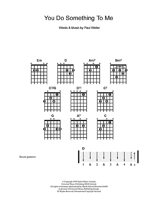 Tablature guitare You Do Something To Me de Paul Weller - Guitare