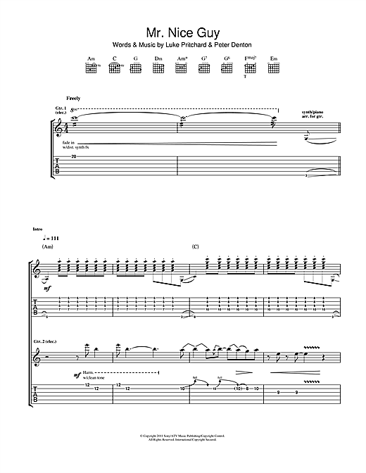 Tablature guitare Mr. Nice Guy de The Kooks - Tablature Guitare