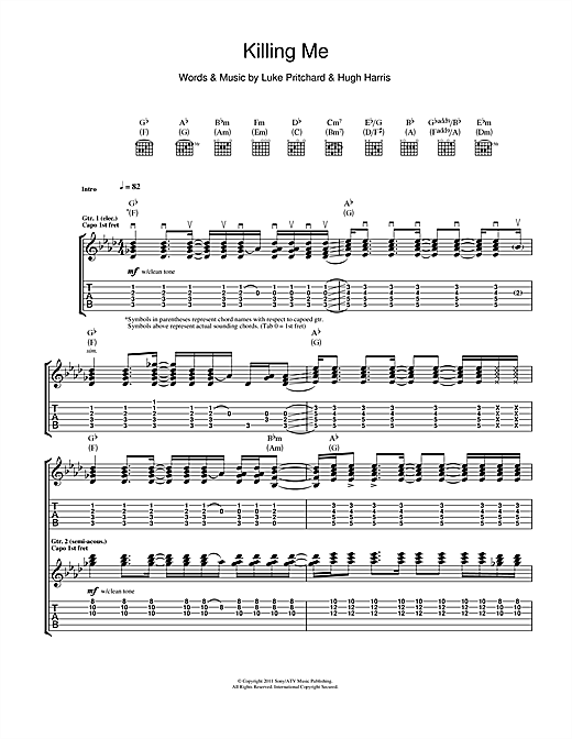 Tablature guitare Killing Me de The Kooks - Tablature Guitare