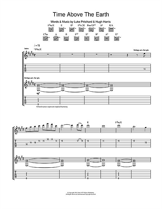 Time Above The Earth Sheet Music