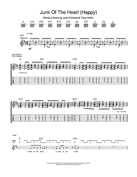 Tablature guitare Junk Of The Heart (Happy) de The Kooks - Tablature Guitare
