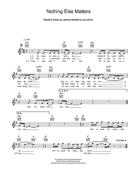 Nothing Else Matters - Print Sheet Music Now