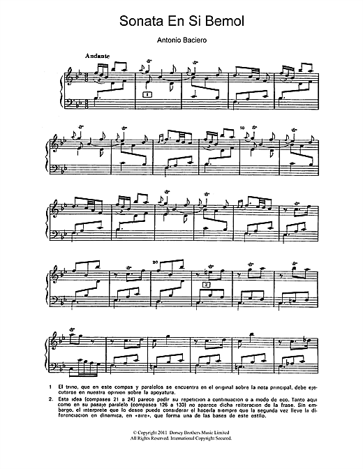 Sonata En Si Bemol Sheet Music