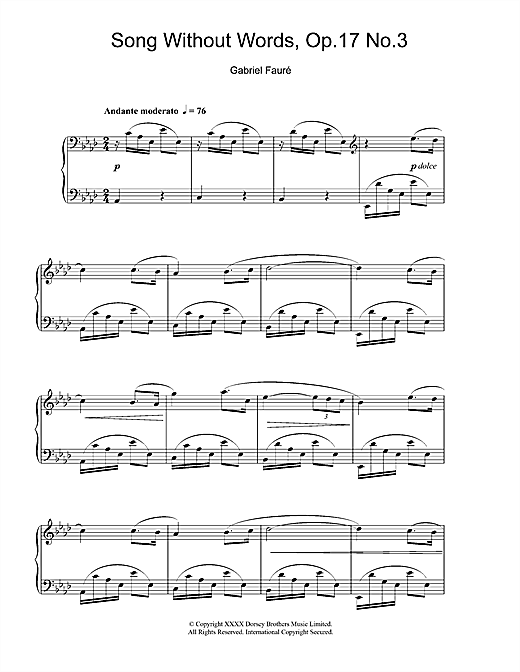 Partition piano Song Without Words, Op. 17, No. 3 de Gabriel Faure - Piano Solo