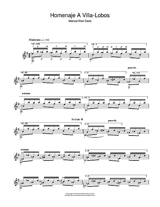 Tablature guitare Homenaje A Villa-Lobos de Manuel Diaz Cano - Guitare Classique