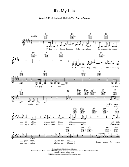 It's My Life Sheet Music