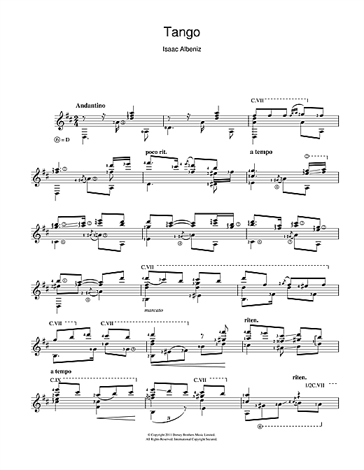 Tablature guitare Tango de Isaac Albeniz - Guitare