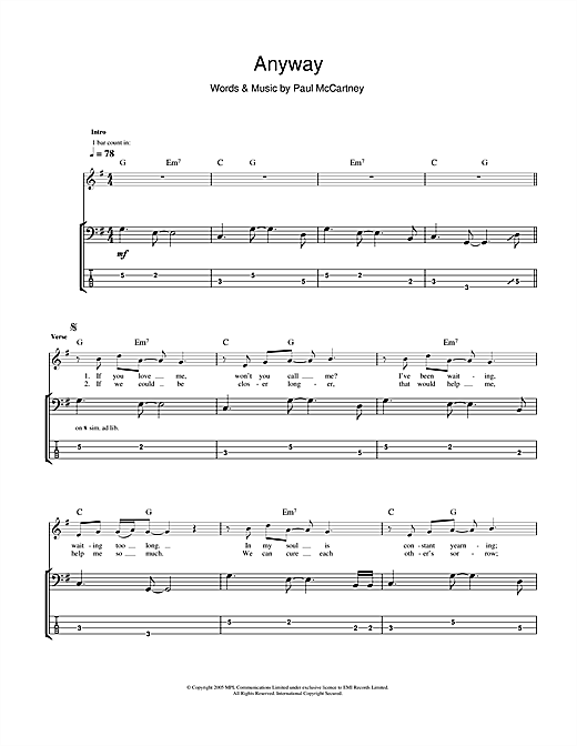 Anyway (Bass Guitar Tab)