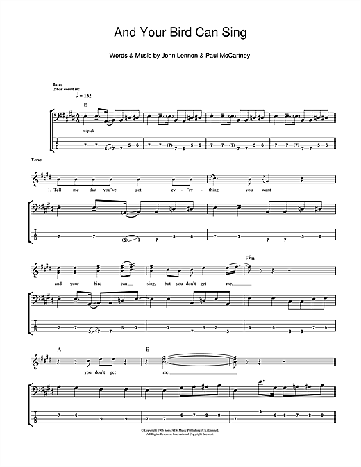 Tablature guitare And Your Bird Can Sing de The Beatles - Tablature Basse