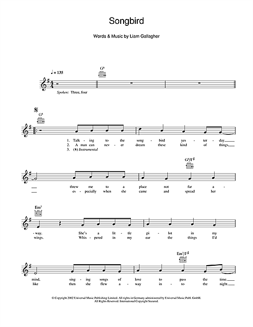 Songbird (Lead Sheet / Fake Book)