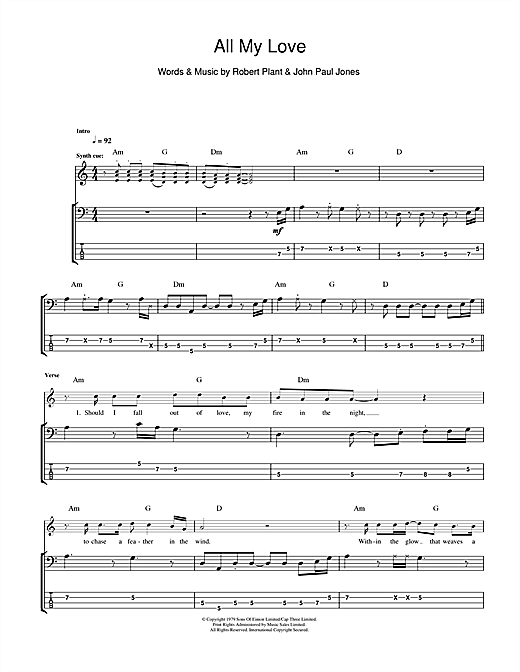 All My Love Sheet Music