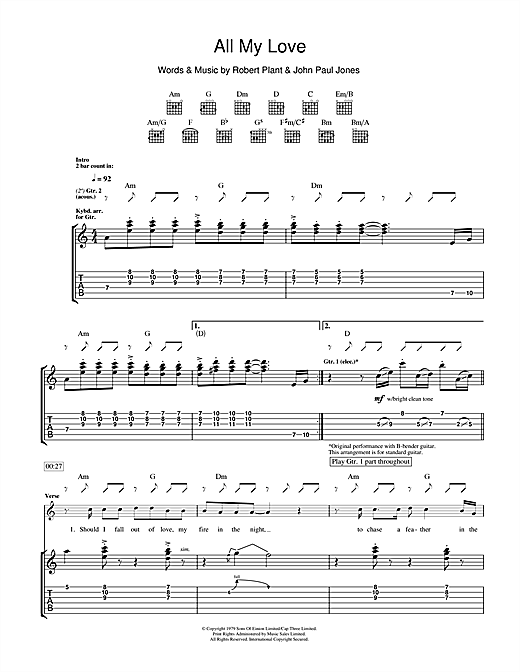 All My Love Guitar Tab by Led Zeppelin (Guitar Tab – 111447)