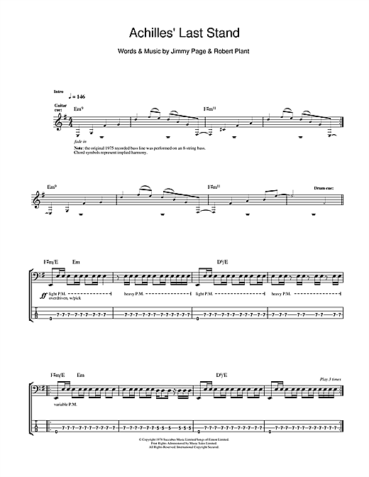 Achilles Last Stand (Bass Guitar Tab)