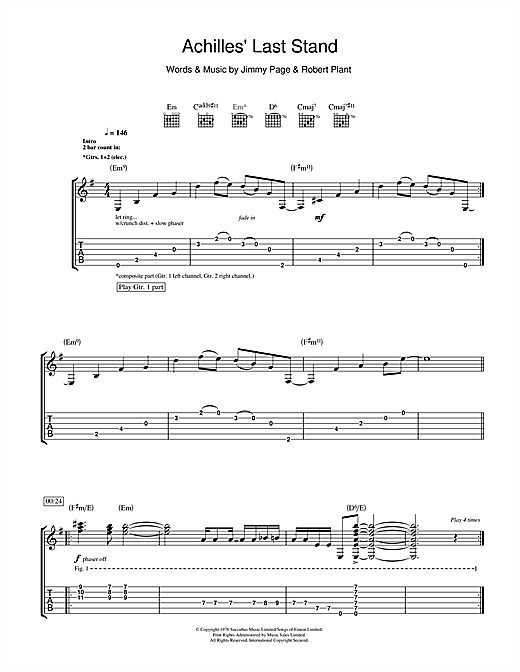 Tablature guitare Achilles Last Stand de Led Zeppelin - Tablature Guitare