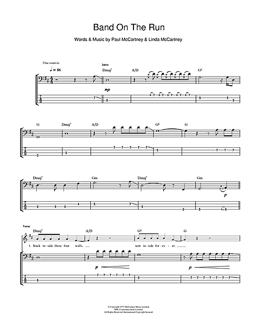 Band On The Run (Bass Guitar Tab)