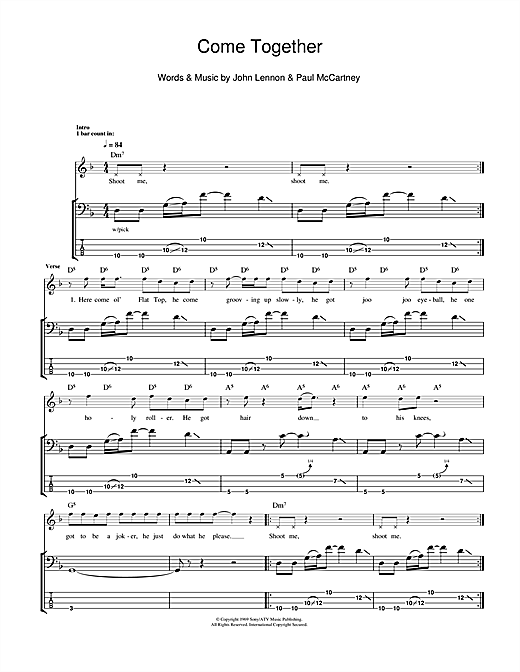 Tablature guitare Come Together de The Beatles - Tablature Basse