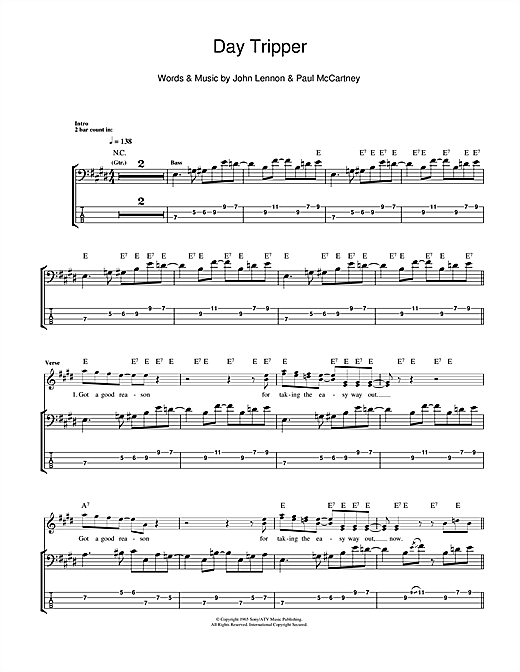 Tablature guitare Day Tripper de The Beatles - Tablature Basse