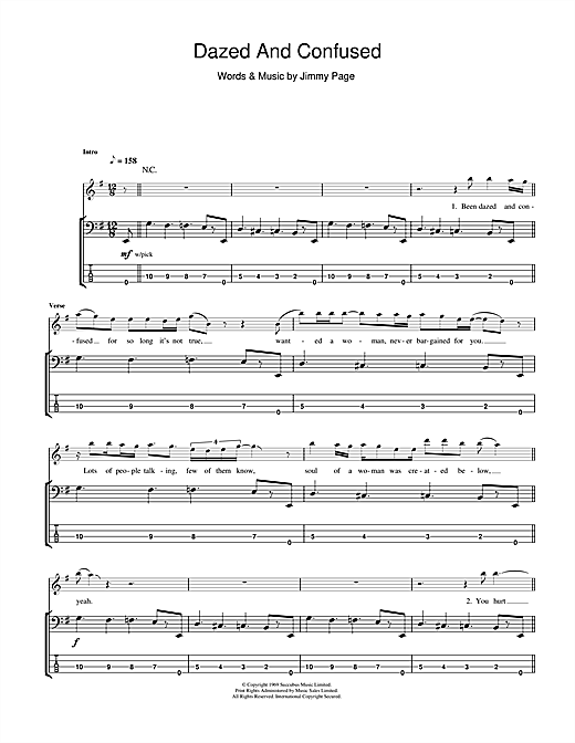 Tablature guitare Dazed And Confused de Led Zeppelin - Tablature Basse