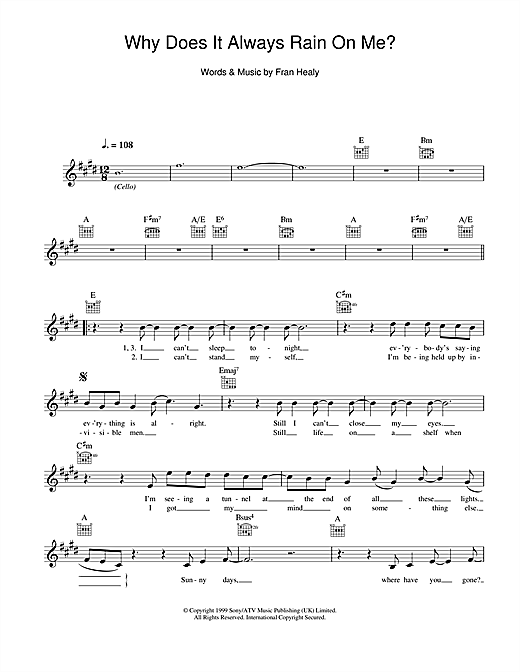 Why Does It Always Rain On Me? Sheet Music