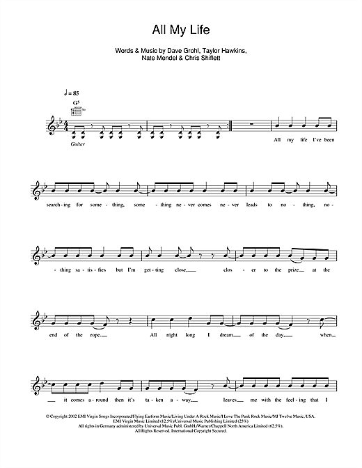 All My Life (Lead Sheet / Fake Book)
