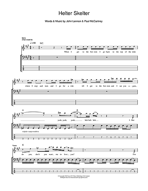 Tablature guitare Helter Skelter de The Beatles - Tablature Basse