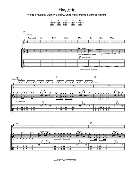 Tablature guitare Hysteria de Muse - Tablature Guitare