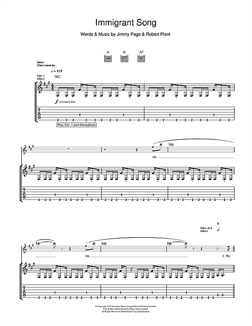 Tablature guitare Immigrant Song de Led Zeppelin - Tablature Guitare