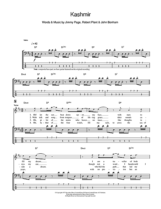 Tablature guitare Kashmir de Led Zeppelin - Tablature Basse