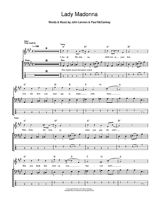 Tablature guitare Lady Madonna de The Beatles - Tablature Basse