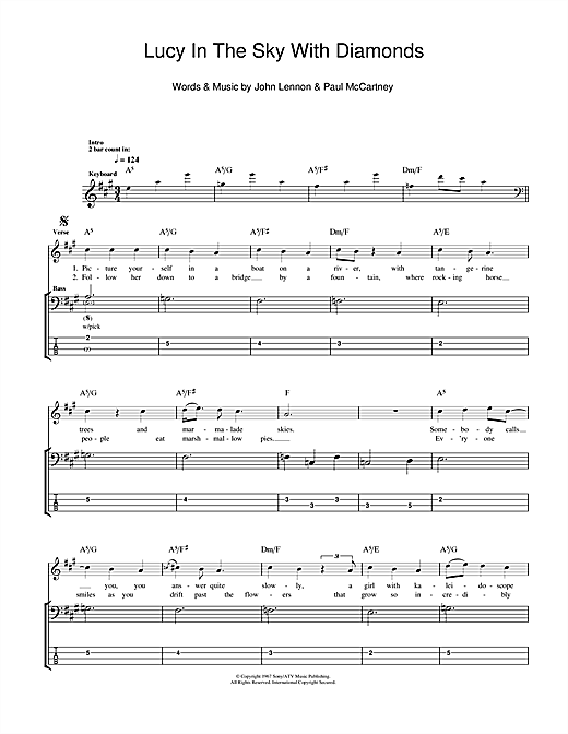 Tablature guitare Lucy In The Sky With Diamonds de The Beatles - Tablature Basse