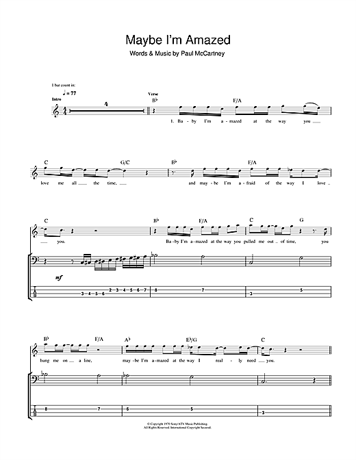Tablature guitare Maybe I'm Amazed de Paul McCartney - Tablature Basse